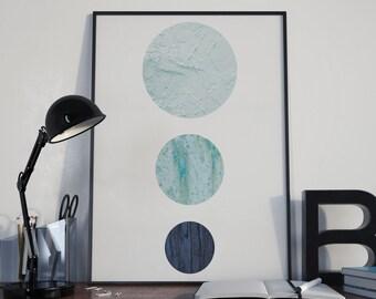 Minimalist Scandinavian Poster Print- Minimalist, circles, blue textured nordic