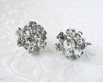 Dainty Rhinestone Flower Screw Back Earrings Vintage Costume Jewelry Wedding Formal Prom Pageant Ballroom Floral Flowers Silver Bridal