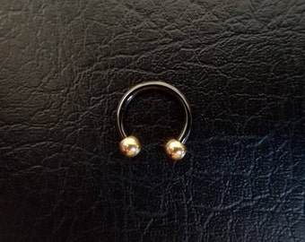"Black and Gold Small Septum Horseshoe Ring 16g 5/16"" 3/8"" Daith Snug Orbital Helix Tragus Lip Ring 316lvm Steel"