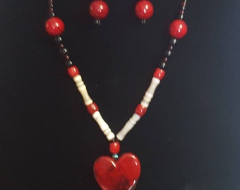Hearts of Fire Necklace and Earring Set