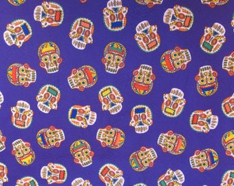 Mexican fabric sugar skulls fabric felt fabric day of the dead fabric dia de los muertos fabric halloween fabric Purple Mexico fabric