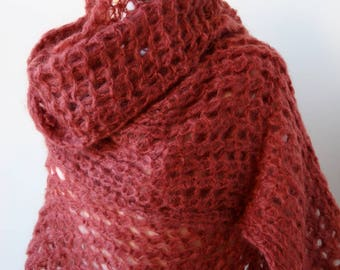 Vivienne Mohair Blend Hand Knit Wrap in MARSALA Color, Chunky, Oversized, Mega, Scarf, Shawl, Warm, Winter, City, Large, Light, Red, Brown