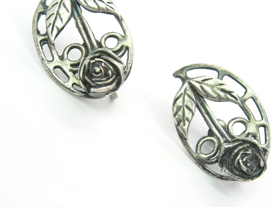 Vintage Sterling Silver Rose Earrings, Arts & Crafts Design