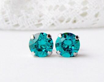 Blue zircon rhinestone stud earrings / 8mm / December birthstone / gift for her / Swarovski / bridal / girlfriend gift / teal earrings