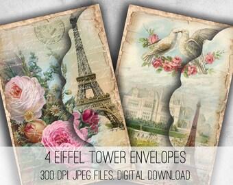Love in Paris Envelopes - Digital Collage Sheet Download -1038- Digital Paper - Instant Download Printables