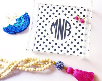 Monogrammed tray, polka dot print, acrylic tray, lucite catchall, bar cart tray, acrylic accessory, bridesmaid gift, jewelry organization