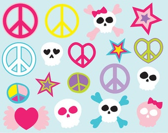 Tween clip art images,  skull clipart, peace sign clip art, royalty free clip art-- Instant Download