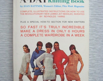 RARE vintage Knit a Dress a Day KNITTING BOOK