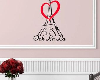 Ooh La La Eiffel Tower with Heart Wall Decal (16w x 22h)