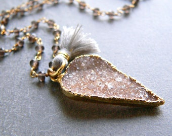 Druzy Crystal + Smokey Topaz + Tassel Gold Necklace