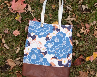 Leather Tote bag Woman / Brown recycled leather Bag / Blue orange Flowers Recycled Fabric / Shoulder big bag / Student christmas gift idea