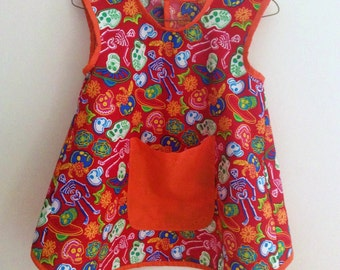 Art Smock, Apron, Red & Skeletons,Unisex/Boys/Girls, Quality Hand Made, In 3 Sizes