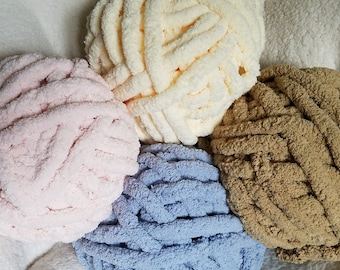 Chenille Yarn, 100% Polyester, Vegan, Chunky Yarn, Jumbo Yarn, Cream Yarn, Blue Yarn, Pink,  Brown, Knitting Materials, Blankets