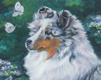 Shetland Sheepdog Sheltie dog art Canvas print of LA Shepard painting 8x10