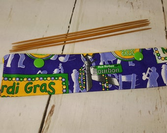 "Long Needle Cozy DPN Holder - Mardi Gras Celebration - project holder 8""x2"" (Hold up to 8"" Needles) NCL0009"