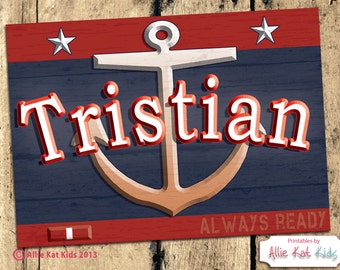 Anchor Coast Guard Good Behavior Always Ready Red Blue Nautical Name Sign from Allie Kat Kids