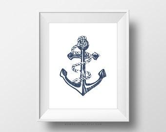 SALE -  Anchor Illustration, Nautical Print, Dorm Poster, Nursery Print, Blue Illustration, Ropes, Ocean Sea Sail, Modernism, Navy Blue