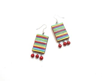 Terracotta jewelry - Colorful Lines Earrings