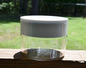 Vintage Pyrex Glass Storage Canister White Screw On Lid Food Storage Jar Panchosporch
