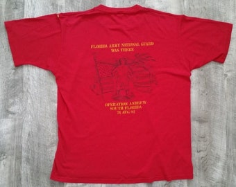Vintage 1992 National Guard Hurricane Andrew Disaster Relief Jerzees T-Shirt size Large
