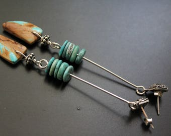 Royston ribbon turquoise earrings, genuine turquoise earrings, long swingy earrings, handmade sterling earrings, Bali sterling post earrings
