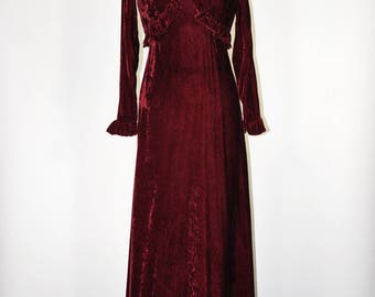 60s velvet evening gown / 1960s burgundy maxi dress / halter dress and bolero set