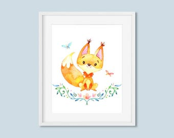 Fox Woodland Nursery Decor Print, Butterfly Watercolor Floral Printable Wall Art, Boys or Girls Art 8x10 11x14 Instant Digital Download