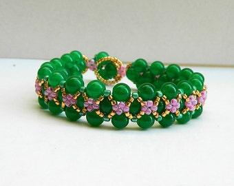 Gift for girlfriend romantic jewelry floral bracelet beaded bracelet green jade beads bracelet beaded jewelry green bracelet for her