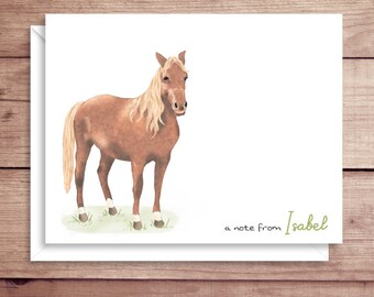 Horse Note Cards - Folded Note Cards - Personalized Children's Stationery - Horse Thank You Notes - Illustrated Note Cards