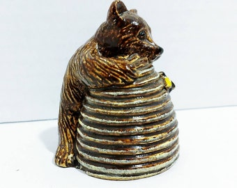 Vintage Ceramic Bear on Bee Hive - Hand Painted - 1940's?