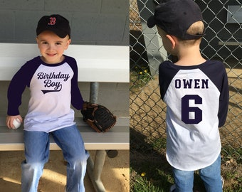 Birthday Shirt-Birthday Shirt Boy-Birthday Shirt Boy 1-Birthday Shirts for Family-Birthday Shirt Toddler-Navy Blue Raglan Shirt Birthday Boy