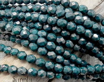 6mm Czech Glass Firepolished Round Beads, Green Turquoise Moondust - Moon Dust Turquoise Green 6mm Round - 2285
