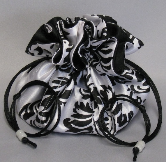 Jewelry Tote---Drawstring Organizer Travel Pouch---Black & White Satin Paisley Design---Large Size