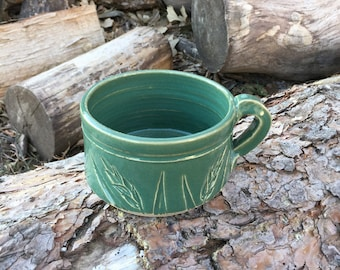 Spring Green Wheat Soup Mug Handmade Pottery by Daisy Friesen