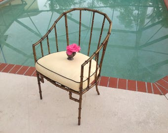 FAUX BAMBOO METAL Arm Chair / Hollywood Regency Faux Bamboo Gold Gilt Metal  Chair / Metal
