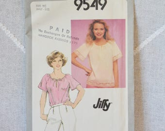 Vintage Simplicity 9549 Sewing Pattern Misses Tops Size 18 1/2 Crafts  DIY Sewing Crafts PanchosPorch