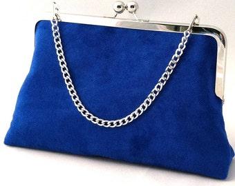 Royal Blue Suede Handbag Clutch Purse ~ Royal Blue Suede Purse ~ Ready to Ship