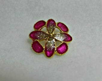 6 enamel, metal, fushia pink, gold, buttons, 22 mm