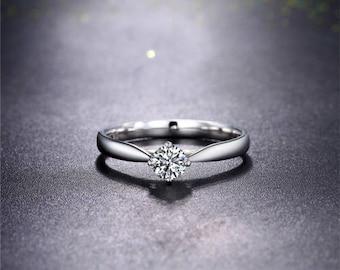 Round Moissanite Engagement Ring 14k White Gold Solitaire Forever One Moissanite Ring Diamond Engagement Ring Art Deco Anniversary Ring