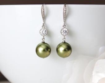 Olive Green Earrings Green Pearl Earrings Green Wedding Jewelry Green Bridesmaid Earrings Greenery Wedding Gift Ideas Green Drop Earrings