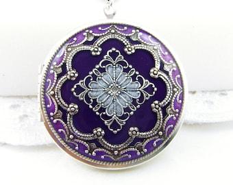 Violet/Purple Filigree Locket, Vintage Locket,Filigree Diamond Locket, Photo Locket, Valentine Gift For Her,  Wedding Locket Picture Locket