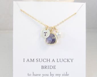 I am such a lucky Bride,Bridemaid Necklace,Bridsmaid Gift,Wedding Necklace,Bridal Necklace,Purple Bridesmaid Initial Necklace,Personalized.