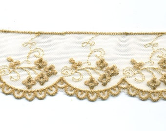 Lace on Tulle gold by the yard