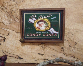 """MAGNET:  UniqueChristmas Primitive Rustic 3"""" by 4"""" Framed Magnet/Wall Hanging/Ornament"""