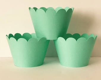 Solid Light Green Cupcake Wrappers, Party decorations cupcake holders, party supplies cupcake wraps, cupcake sleeves, paper goods, festive