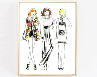 "Fashion Illustration Print ""Alice + Olivia, Cocktail Hour""  Art Print, Fashion Illustration, Home Decor, Girls Print,Vanity Art, Watercolor"