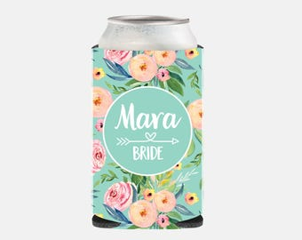 Bride Gift from Maid of Honor Bride Gift from Bridesmaid Bride Can Cooler Bride Can Cover Bridesmaid Party Favor Floral Wedding Favor TZ BGF