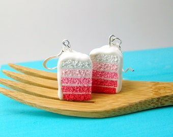 Ombre Earrings // Pink Ombre Cake Earrings // Food Jewelry Food Earrings // MADE TO ORDER