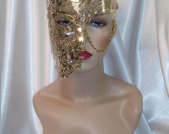 Gold Phantom of the Opera Mask, Phantom Half Face Skull Mask, Gold Metal Mask, Masquerade Ball Mask, Mardi Gras Mask