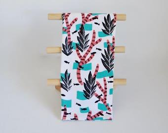 Tea Towel, Multi-Use Towel, Kitchen Bath Gym, Kelp + Coral Print Cotton Screen Printed Towel, Blacktop